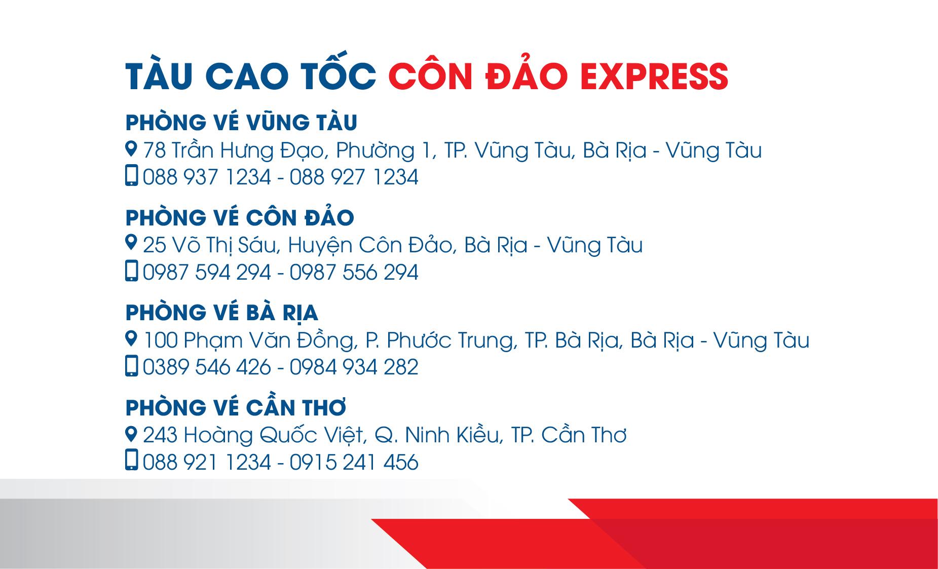 Danh sách đại lý tàu cao tốc Côn Đảo Express