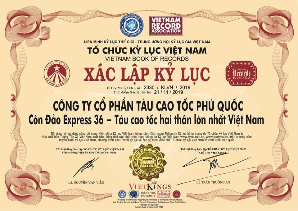 Côn Đảo Express 36 đạt kỷ lục tàu cao tốc hai thân lớn nhất Việt Nam