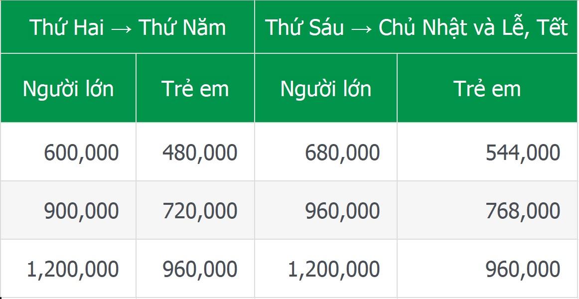 Giá vé tàu cao tốc Mai Linh Express