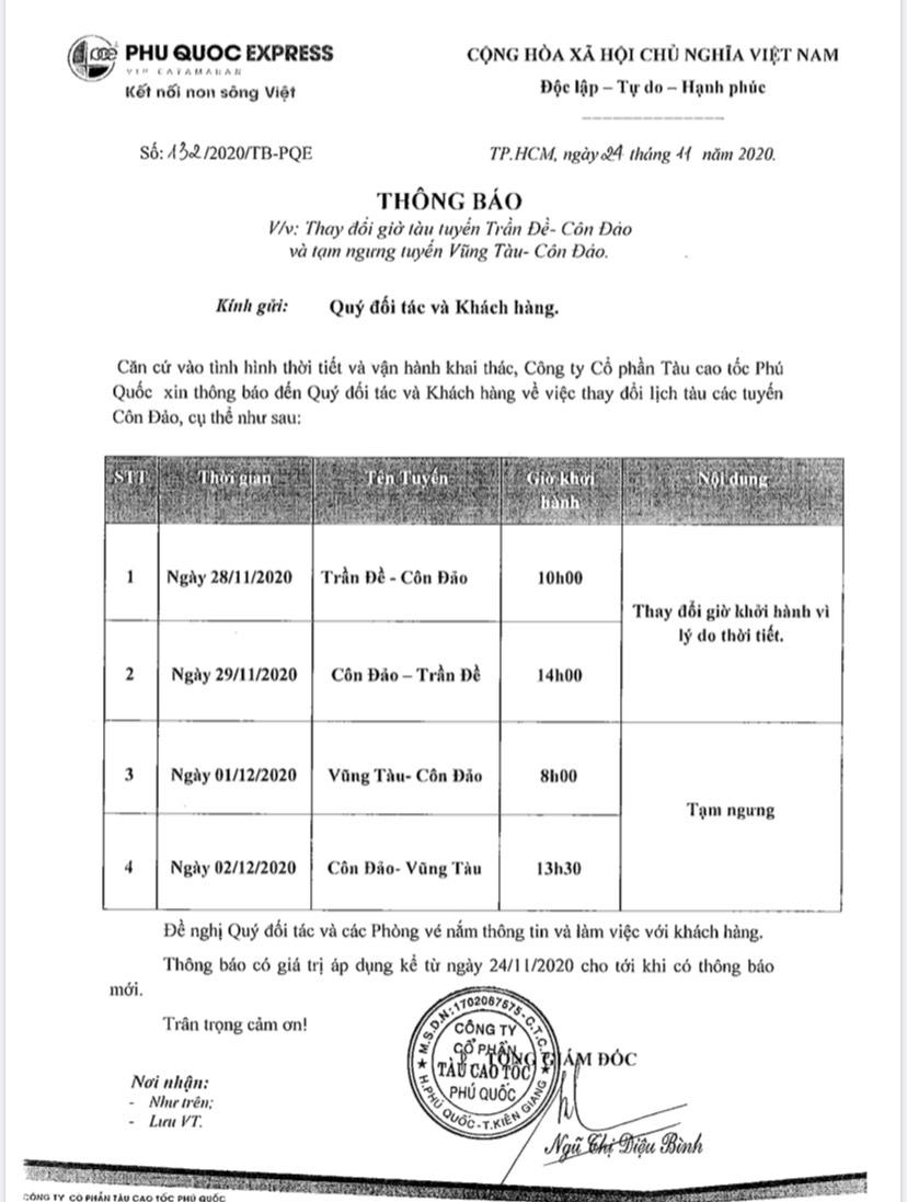 Thông báo thay đổi giờ tàu tuyến Trần Đề – Côn Đảo và tạm ngưng tàu Vũng Tàu – Côn Đảo
